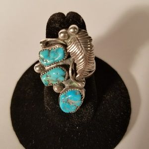 Turquoise Leaf Ring Sterling Silver 925